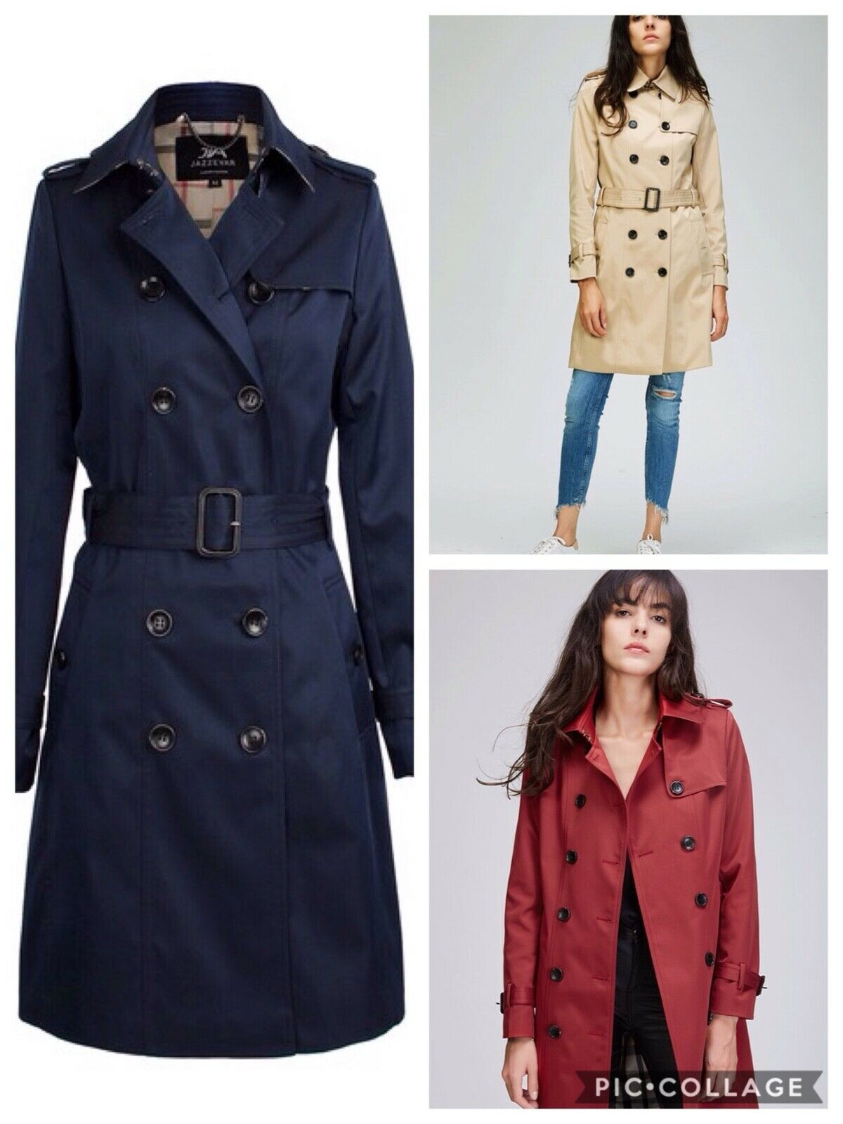 WOMENS WATERPROOF CLASSIC DOUBLE BREASTED TRENCH COAT DRESSY CASUAL 3 COLORS S-L