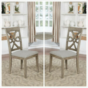 Outstanding Details About Set Of 2 Wood Dining Chair Armless Chair Accent Solid Wood Modern Style In Grey Uwap Interior Chair Design Uwaporg