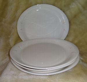 4 White Pink Stripe 10 7 8 Oval Restaurant Plates Platters
