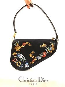 7aa5f4e6dc Image is loading Rare-Vintage-Dior-Black-Floral-Saddle-Bag