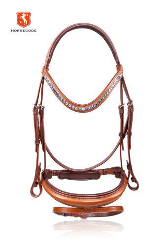 Horsecode frenillo Caramel /& Ocean cálido sangre cognac pedrería marrón caballo marrón claro