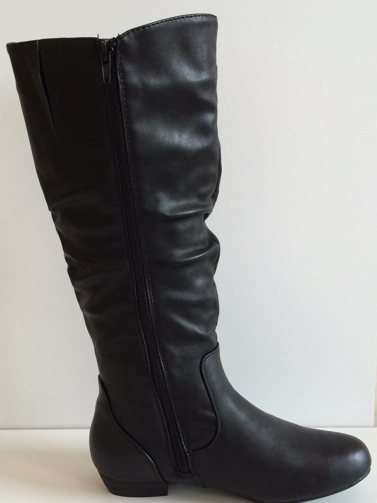 Final Fashion Quality Premium Knee High Women's Flat Faux Leather boots - Black