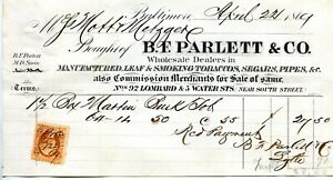 1869-B-F-PARLETT-amp-CO-BILL-HEAD-MFG-LEAF-amp-SMOKING-TOBACCO-SEGARS-REVENUE-STAMP