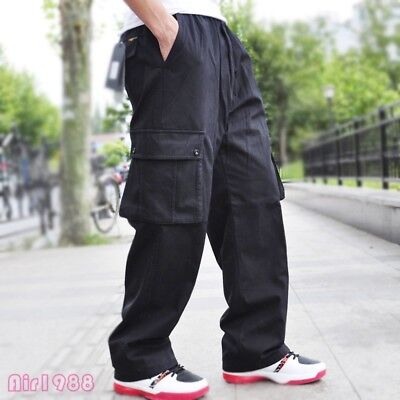 Loose Fashion XL-6XL Men/'s Casual Pants Pockets Sports Work Overalls Trousers
