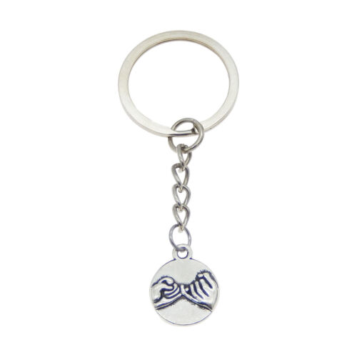 Lot of 2 Silver Metal Round Shaped Finger Promise Charm Drop Key Chains Keyring