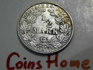 Coins Home Circulated 1914 J Germany 1/2 mark silver lot#TRA74 Uncertified