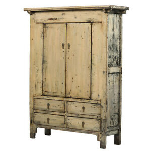 Modest Cream-grey Vintage Chinese Cabinet From Shanxi Non-Ironing Asian Antiques