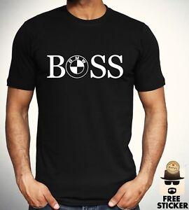 BMW-Boss-Logo-T-shirt-Car-Racing-F1-Fashion-Tee-M-power-Sport-Top-Mens-S-XXL