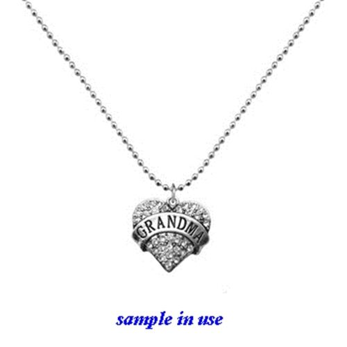 BLESSED Clear Rhinestone Heart Silver Traditional Charm or Pendant