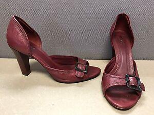 f15736eca4d Boss Hugo Boss Peek a Boo Toe Heels Shoes Red Leather Women s Size ...