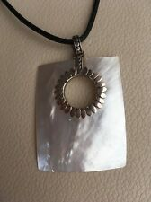 """Large Sterling Silver White MOP (Shell) Pendant on 18"""" Black  Leather Cord"""