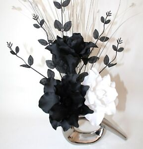 Artificial silk flower arrangement black white lily flowers silver image is loading artificial silk flower arrangement black amp white lily mightylinksfo