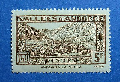 Andorra 1932 Andorra French 5f Scott# 61 Michel # 45 Unused Nh Cs26405