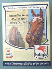 10x14 Original 1943 Mobil Ad THREE LEGGED HORSEPOWER WON'T GET YOU FAR