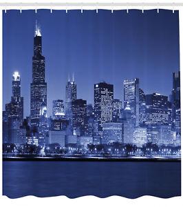 Image Is Loading Dark Blue Shower Curtain Chicago Skyline Night Print
