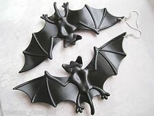 *HUGE BLACK BAT* SP Earrings Vampire Bat Girl Batman Fancy Dress Halloween