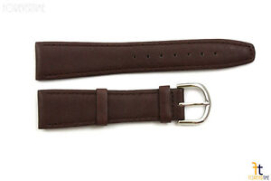 20mm-Genuine-Dark-Brown-Leather-Stitched-Watch-Band-Strap-Silver-Tone-Buckle