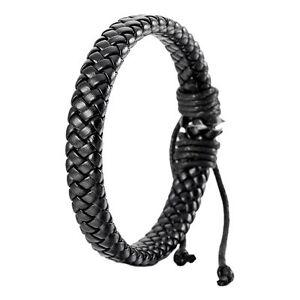 Leather-Bracelet-Bangle-Men-Women-Cuff-Rope-Black-Surfer-Wrap-Adjustable