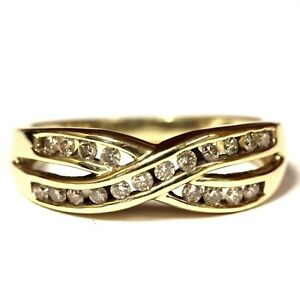 10k-yellow-gold-30ct-SI2-H-diamond-cluster-crossover-ring-2-4g-estate-vintage