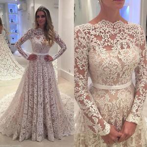 Elegant Applique Long Sleeves Wedding Bridal Dresses Modest A-line White Ivory