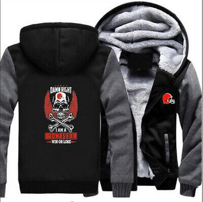 CLEVELAND BROWNS Fans Hoodie Fleece zip up Coat winter Jacket warm Sweatshirt