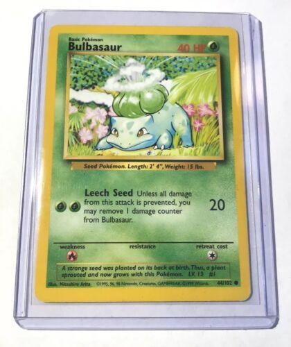 Base Set 44//102 Common Unlimited Edition BULBASAUR NM Pokemon Card