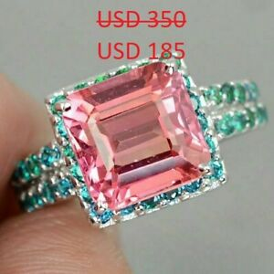 Vintage 6.77CT Cushion Cut Pink Padparadscha Sapphire Blue Apatite Accents Ring