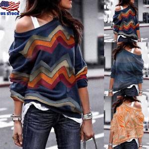 Plus-Size-Women-One-Shoulder-Hoodie-Sweatshirt-Long-Sleeve-Sweater-Pullover-Tops