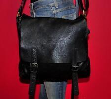 ROOTS Black Leather Large Rugged Flap Carryall Messenger CrossBody Satchel Bag