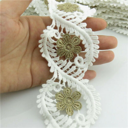 1 Meter Embroider Salix Leaf 58mm White Flower Lace Bridal Trims Applique Sewing