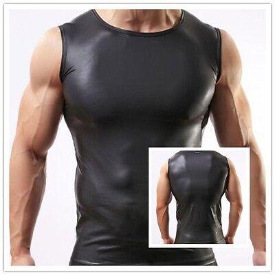 Man Sexy Sport GYM Black Faux Leather Vest Tops Sleeveless Tanktop T-shirt S -XL