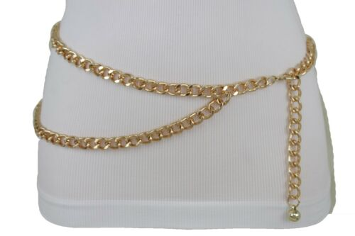 Women Dressy Fashion Belt Hip Waist Gold Metal Chain Links Size XS S M L XL XXL