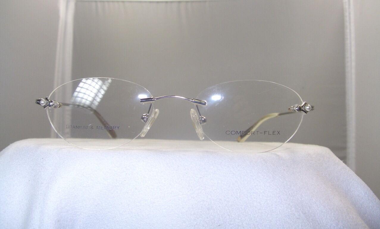 Eyeglass Frame Pieces : COMFORT FLEX WOMENS SILVER 3 PIECE RIMLESS EYEGLASS FRAME ...