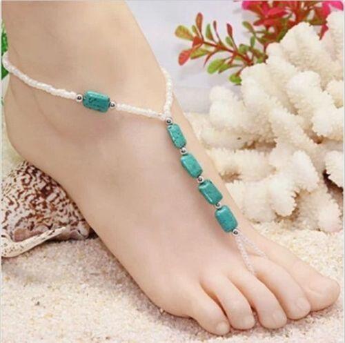 Elegante, Elegante, Bianco & Turchese Perline CAVIGLIERA Toe Ring cablaggi (0111)