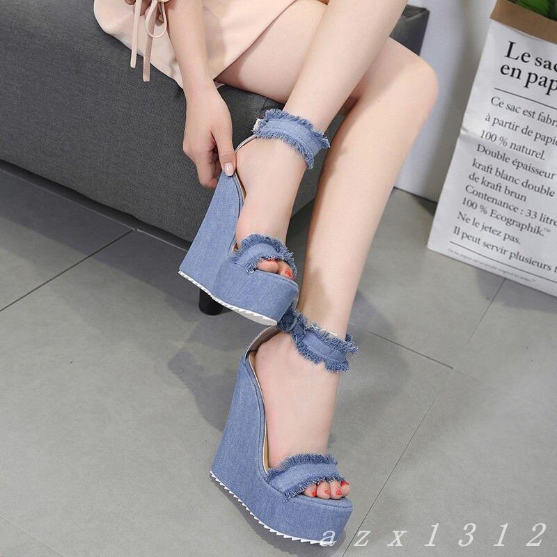 Donna Summer High Wedge Heel Platform Denim Sandals Ankle Strap 2018 Sandals 01
