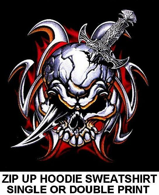 SKULL DEVIL DEMON TRIBAL KNIFE DAGGER GOTH MEDIEVAL PUNK ZIP HOODIE SWEATSHIRT 9