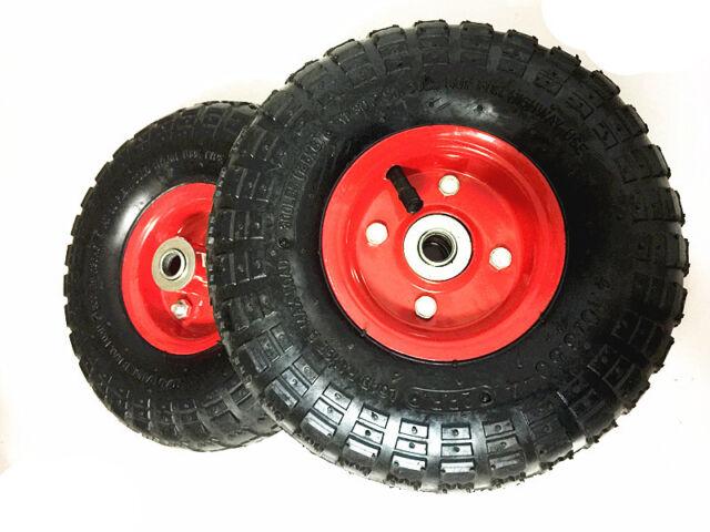 2 x 10 Inch Pneumatic Wheels Hand Trolley Cart Sack Truck Wheelbarrow Tyres 16mm