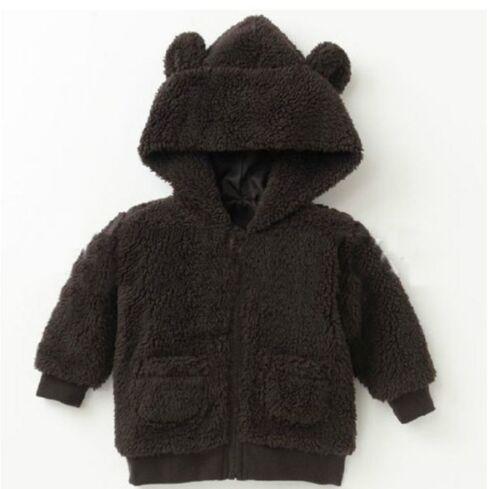 Bébé Garçon En Polaire Douce à Capuche Veste à Capuche Pull Homme Teddy Bear