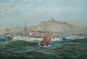 GERMAN-NAVY-at-Dover-Cruisers-Princess-Irene-amp-Wilhelm-1899-SUPERB-Color-Print
