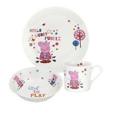 Portmeirion Peppa Pig 3 Piece Childs China Plate Bowl Mug Dining Set Gift Boxed