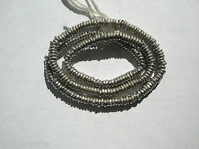 "African Handcrafted Nickel Silver Heishi Beads - 4mm - 14"" strand"