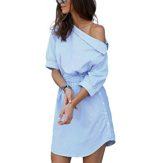 Women Off Shoulder Blue Stripe Elegant Shirt Casual Waist Belt Mini Dress Summer