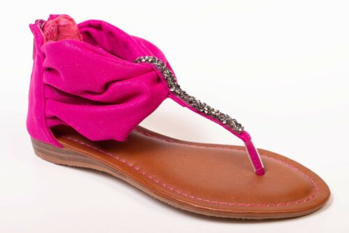 Girls Youth summer t-strap sandals white,silver,fuchsia size 13,2,3