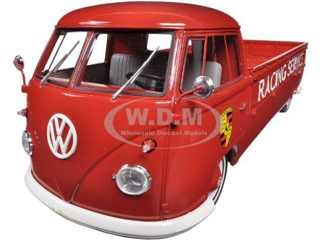 venta al por mayor barato Volkswagen T1 T1 T1 Camioneta Porsche 550 Racing servicio Plataforma Rojo 1962 1 18 30011  Obtén lo ultimo