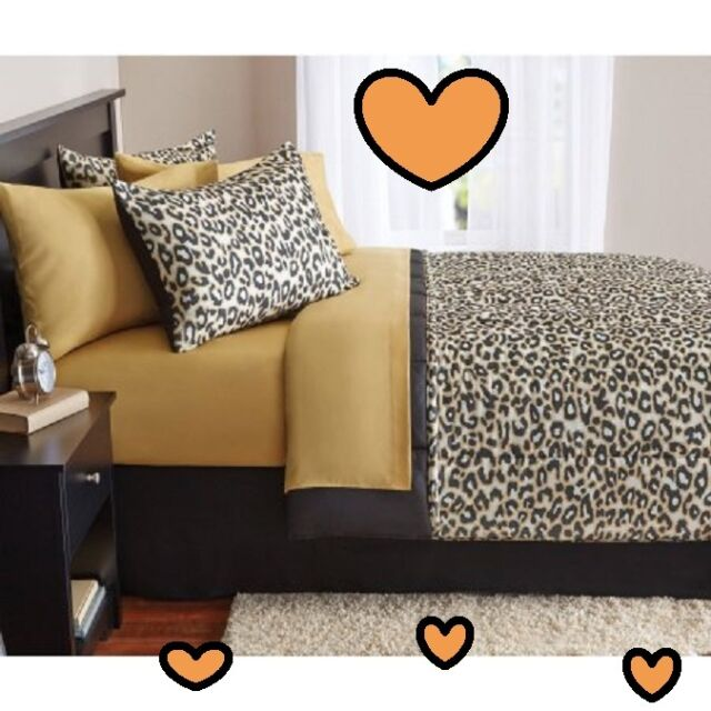 💗 ALL SIZES Leopard Cheetah Print Bed-in-a-Bag Bedding Comforter Sheets Shams
