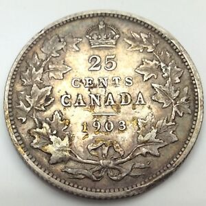 1903-Canada-Twenty-Five-25-Cents-Quarter-Silver-Circulated-Canadian-Coin-D164