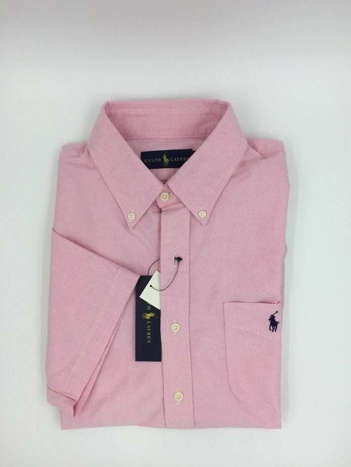 RALPH LAUREN Short Sleeve Button Down Pink Oxford - size L