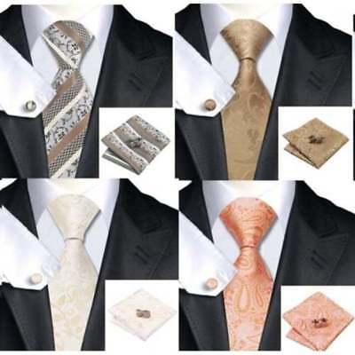 Mens Premium Formal 100/% Striped Check Silk Tie Pocket Square Cufflink Tie Set