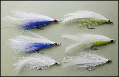 Bass Fishing Flies, 6 Pack Mixed Colour Deceivers, Size 2/0, Fly Fishing,