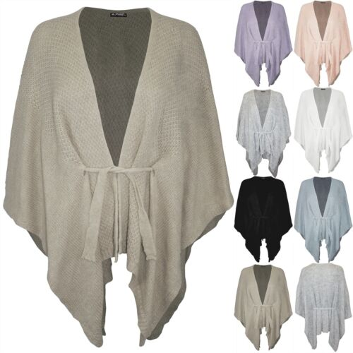 Womens Ladies Chunky Knit Sweater Belted Waterfall Cardigan Jumper Shawl Poncho
